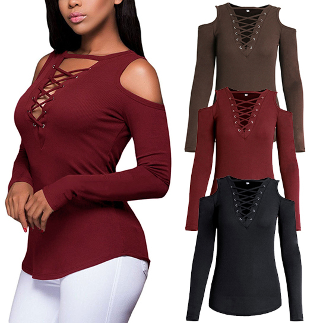 Plus Size Cold Shoulder Long Sleeve Blouse Lace up Ribbed Tops - S, Red 5808c3962c043d776f1bc857