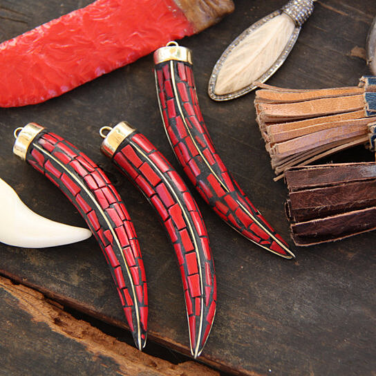 Pull Up Bar Nepal: Buy Chilli Pepper Tusk: Nepali Red Coral, Brass Pendant