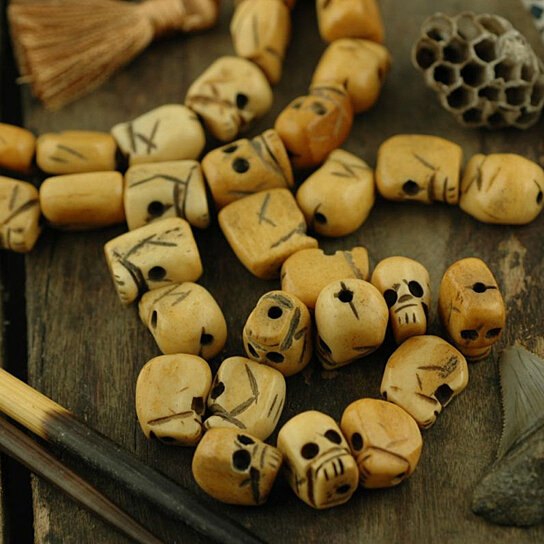 Buy of skulls and such carved wood skull beads 13x10mm for Day of the dead body jewelry