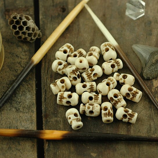Buy spooky large carved skull bone beads 9x13mm 25 for Day of the dead craft supplies