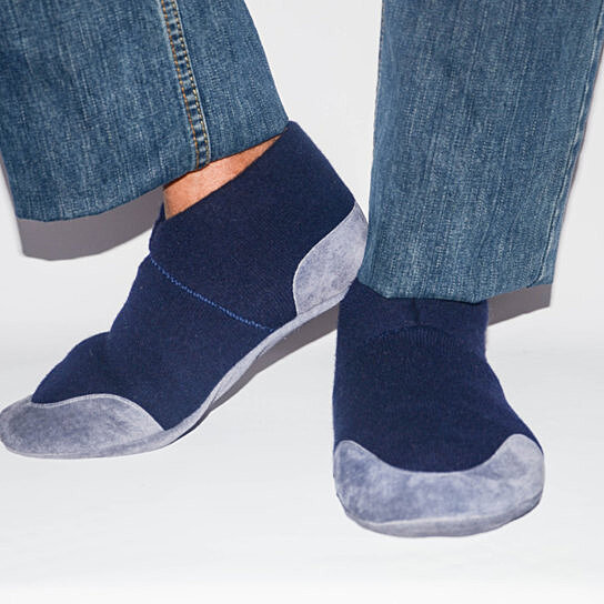 Eco Friendly Slippers: Buy Men Cashmere Slippers With Suede Leather Soles, Eco