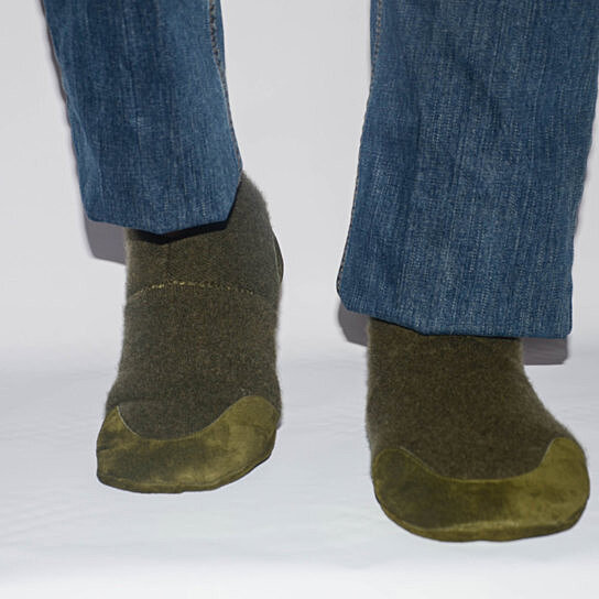 Eco Friendly Slippers: Buy Mens Wool Slippers With Suede Leather Soles, Men