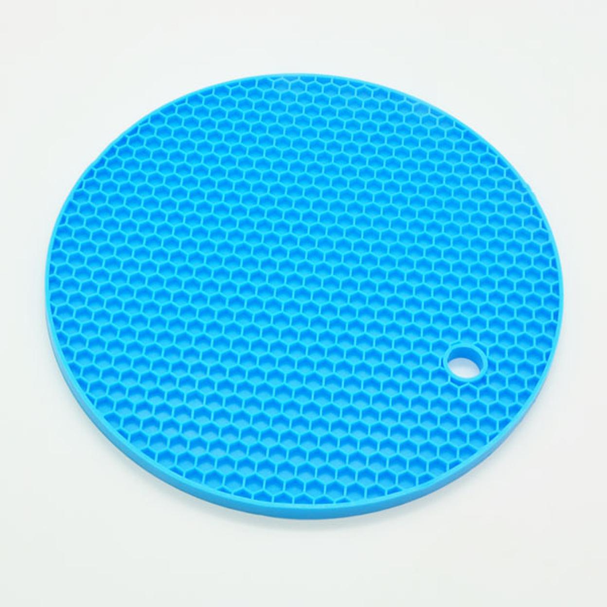 18cm Round Silicone Non-slip Heat Resistant Mat Coaster Cushion Placemat Pot Holder Kitchen Accessories - Blue 5997d9dc40f76c222b0e8436
