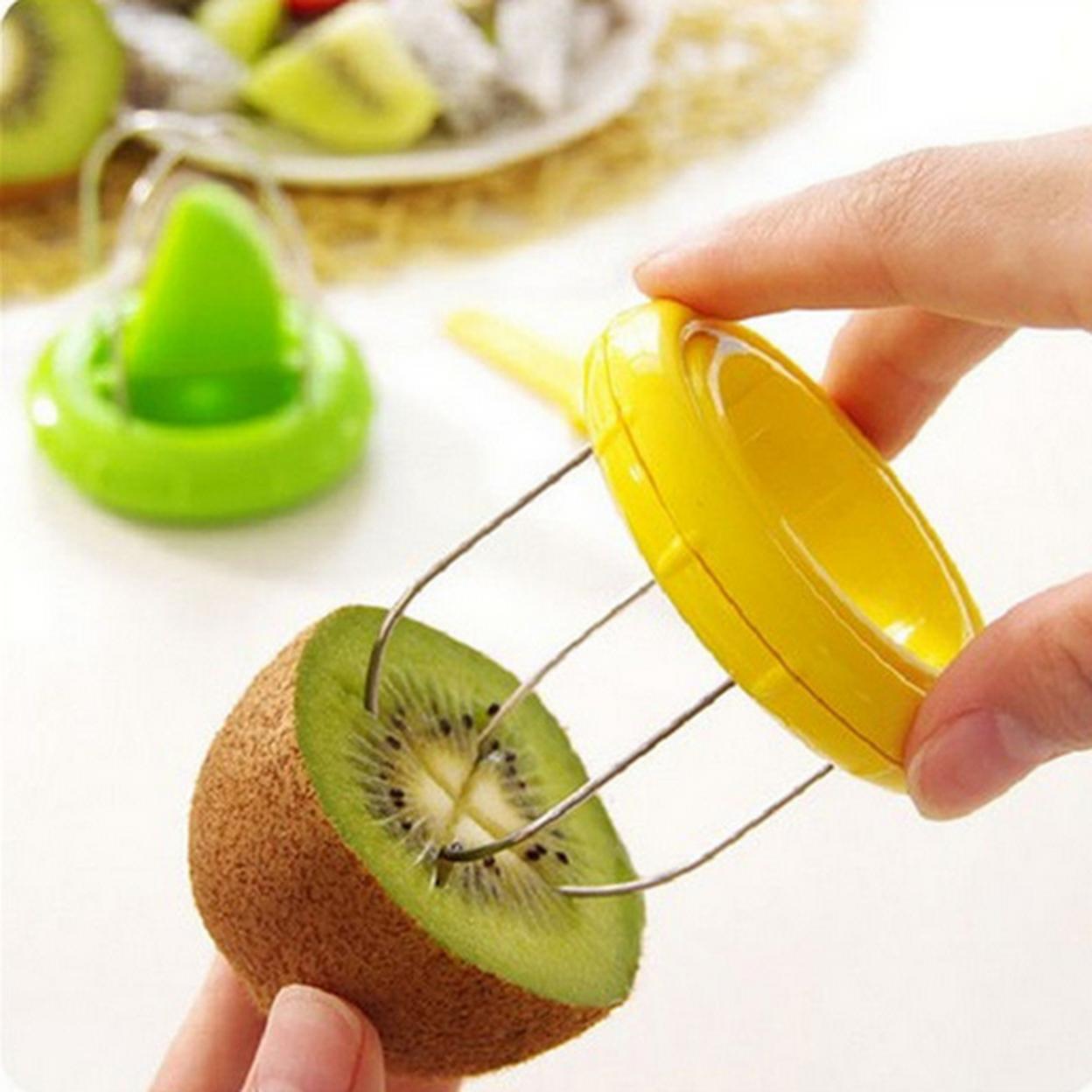2pcs Mini Fruit Kiwi Cutter Peeler Slicer Kitchen Gadgets Tools For Pitaya Green Hot Sale