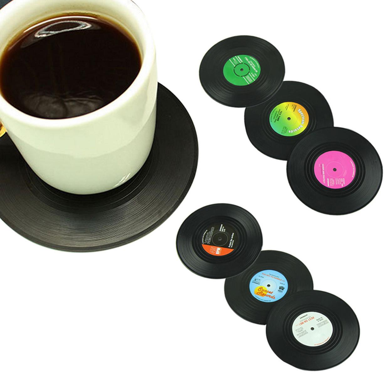 6pcs/set Spinning Retro Vinyl CD Record Drinks Coasters Anti-slip Cup Coffee Mug Mat 59eb00fccaccdd43b4535525