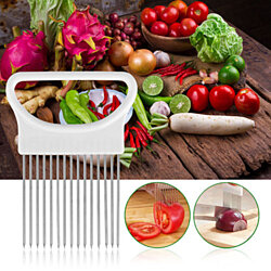 2pcs Stainless Steel Vegetable Slicer,Onion Holder, Cutter & Chopper