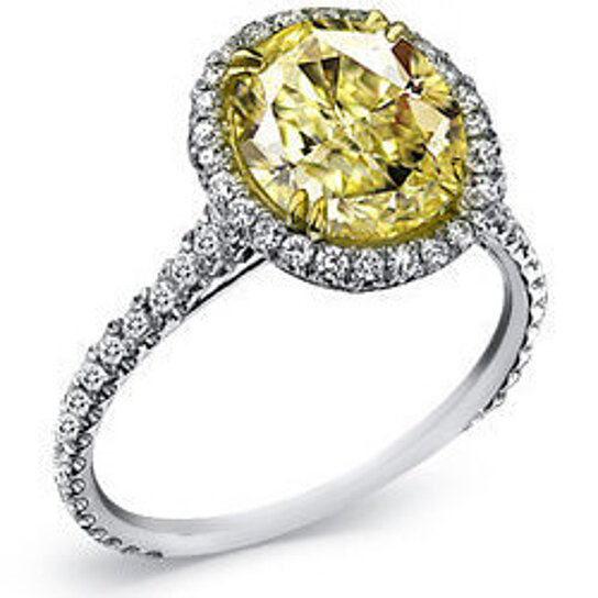 Buy 1 3 4 Carat Oval Cut Fancy Yellow Diamond Engagement Ring by WorldJewels