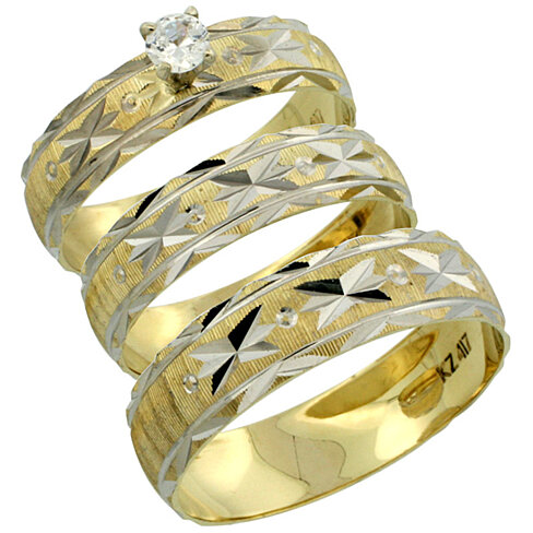 3 piece wedding ring sets for him and her 10k gold 3 trio wedding ring set him amp 0 1094