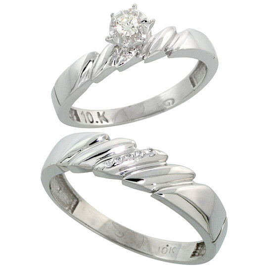 Buy 10k White Gold 2 Piece Diamond wedding Engagement Ring Set for Him and He