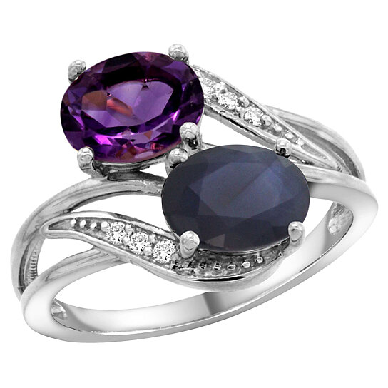 Trampoline Sale 55 8 11 12 13 14 15 17 X15 Oval: Buy 10K White Gold Amethyst & Blue Sapphire 2-stone Mother