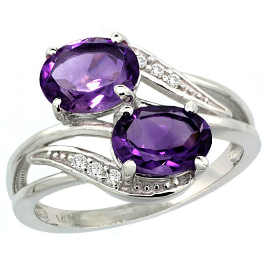 Trampoline Sale 55 8 11 12 13 14 15 17 X15 Oval: Buy 10K White Gold Diamond Amethyst 2-stone Ring Oval