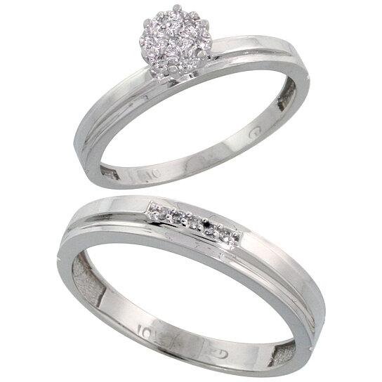 Buy 10k White Gold Diamond Engagement Rings Set for Men and Women 2 Piece 0 0