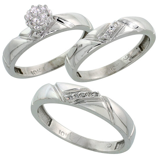 Buy 10k White Gold Diamond Trio Engagement Wedding Ring Set for Him and Her 3