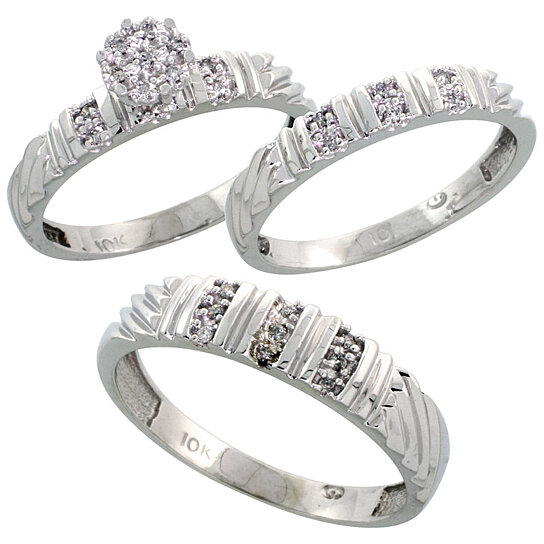 buy 10k white gold diamond trio engagement wedding ring. Black Bedroom Furniture Sets. Home Design Ideas