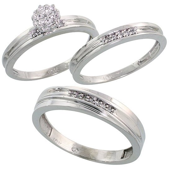 Buy 10k white gold diamond trio engagement wedding ring for Diamond wedding ring for him