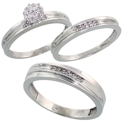 buy 10k white gold diamond trio engagement wedding ring set for him and her 3 piece 5 mm 3 mm. Black Bedroom Furniture Sets. Home Design Ideas