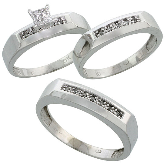 3 piece wedding ring sets for him and her buy 10k white gold trio engagement wedding ring 1094