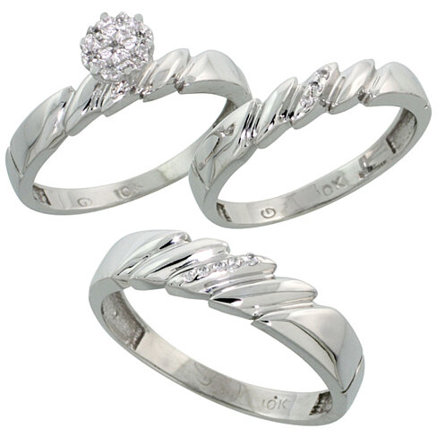 wedding bands sets for him and white gold 14k white