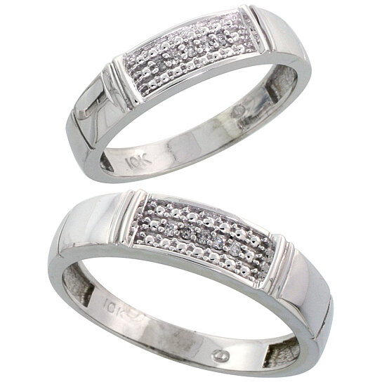 Buy 10k White Gold Diamond Wedding Rings Set for him 5 mm and her 4 5 mm 2 Pi