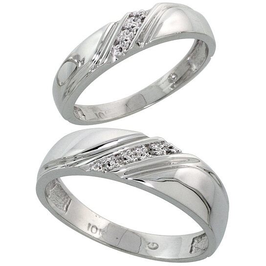 wedding rings for him buy 10k white gold wedding rings set for him 6 mm 1032
