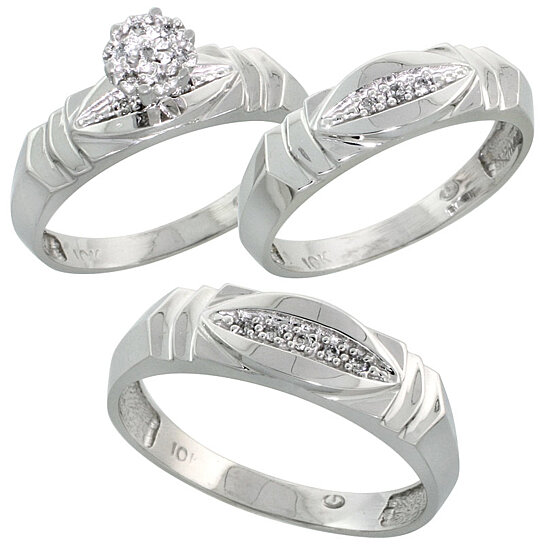 wedding ring sets for him and her buy 10k white gold trio engagement wedding ring set for 9992