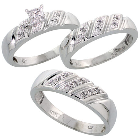 3 piece wedding ring sets for him and her 10k white gold trio engagement wedding ring set for him 1094
