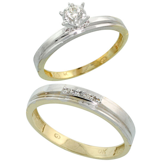 Buy 10k Yellow Gold 2 Piece Diamond wedding Engagement Ring Set for Him and H