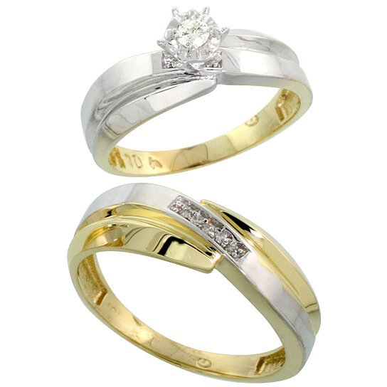 Buy 10k yellow gold 2 piece diamond wedding engagement for Diamond wedding ring for him
