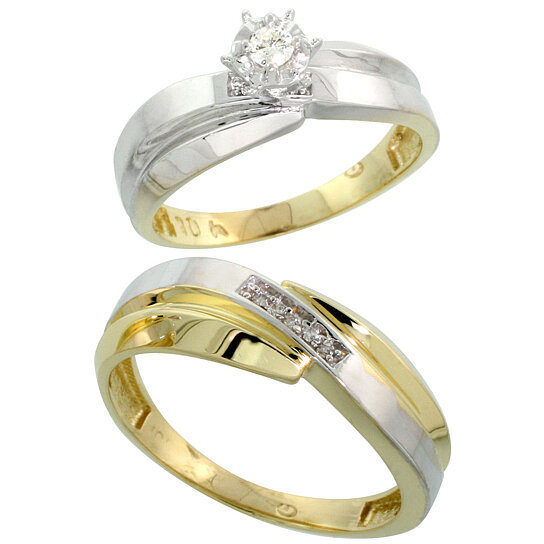 buy 10k yellow gold 2 piece diamond wedding engagement ring set for him and her 6mm 7mm wide. Black Bedroom Furniture Sets. Home Design Ideas