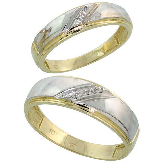 Buy 10k Yellow Gold Diamond 2 Piece Wedding Ring Set His 7mm & Hers 5 5mm