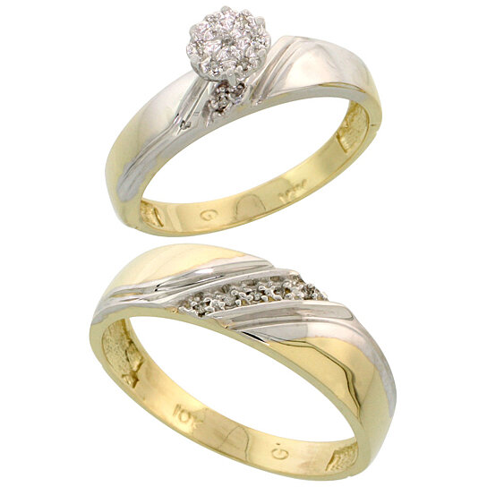 Buy 10k Yellow Gold Diamond Engagement Rings Set for Men and Women 2 Piece 0
