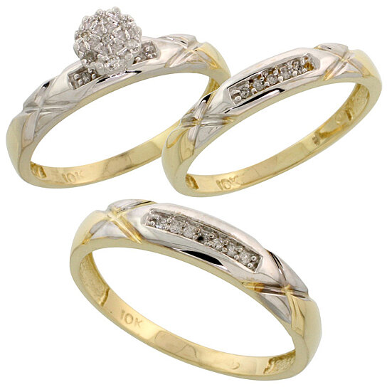 buy 10k yellow gold diamond trio engagement wedding ring set for him and her 3 piece 4 mm 3 5. Black Bedroom Furniture Sets. Home Design Ideas