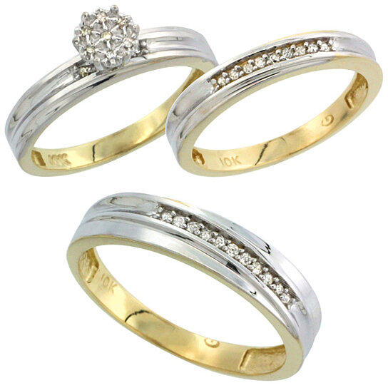 buy 10k yellow gold diamond trio engagement wedding ring set for him and her 3 piece 5 mm 3 mm. Black Bedroom Furniture Sets. Home Design Ideas