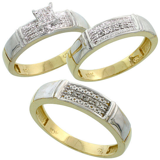 buy 10k yellow gold diamond trio engagement wedding ring set for him and her 3 piece 5 mm 4 5. Black Bedroom Furniture Sets. Home Design Ideas