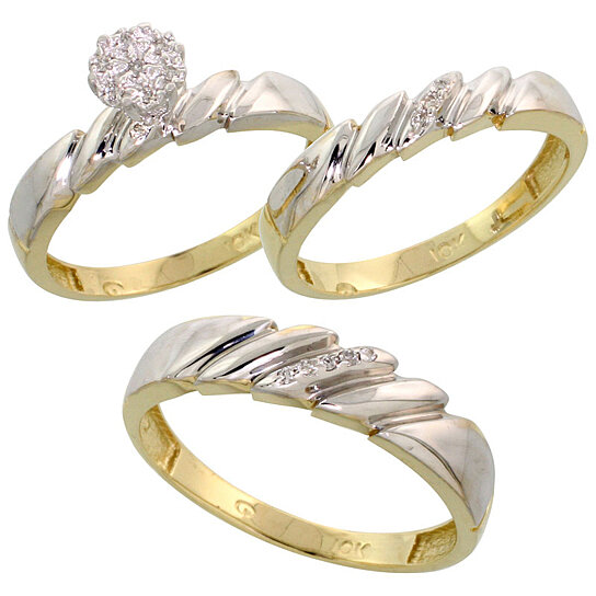 Buy 10k Yellow Gold Diamond Trio Engagement Wedding Ring Set for Him and Her