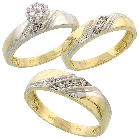 Buy 10k yellow gold diamond trio engagement wedding ring for Diamond wedding ring for him