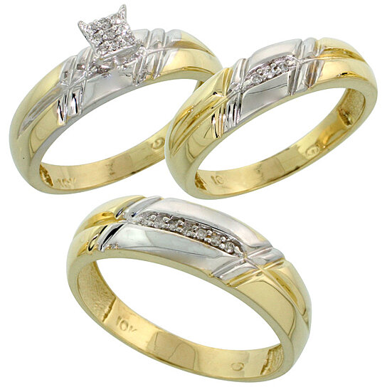 Wedding Rings For Her: Buy 10k Yellow Gold Diamond Trio Engagement Wedding Ring