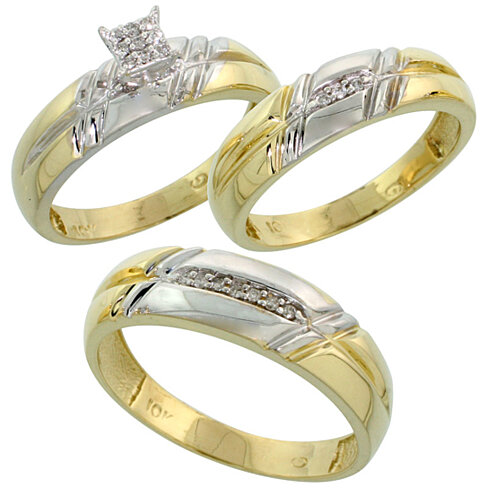 yellow gold diamond trio engagement wedding ring set for him and her - Cheap Wedding Rings Sets For Him And Her