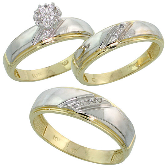 buy 10k yellow gold diamond trio engagement wedding ring set for him and her 3 piece 7 mm 5 5. Black Bedroom Furniture Sets. Home Design Ideas