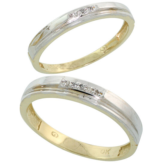 Buy 10k Yellow Gold Diamond Wedding Rings Set for him 4 mm and her 3 mm 2 Pie