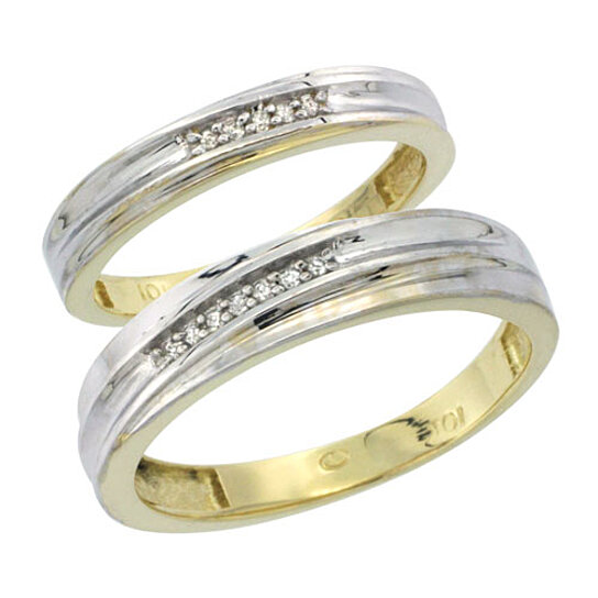 Buy 10k Yellow Gold Diamond Wedding Rings Set for him 5 mm and her 3 5 mm 2 P