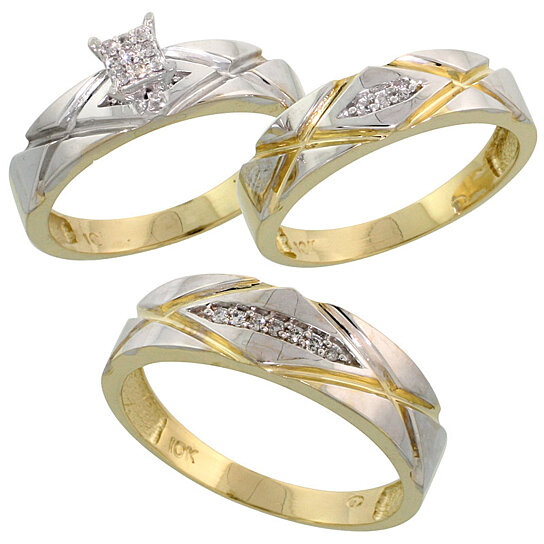 wedding ring for him buy 10k yellow gold trio engagement wedding ring set for 9952