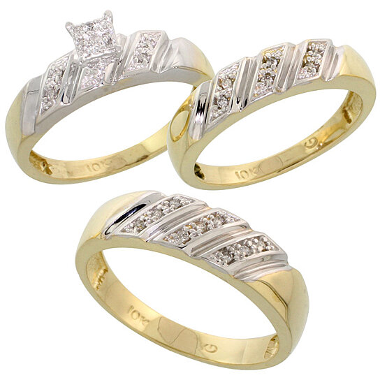 Buy 10k Yellow Gold Trio Engagement Wedding Ring Set for ...