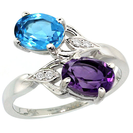 Trampoline Sale 55 8 11 12 13 14 15 17 X15 Oval: Buy 14k White Gold Amethyst & Swiss Blue Topaz 2-stone