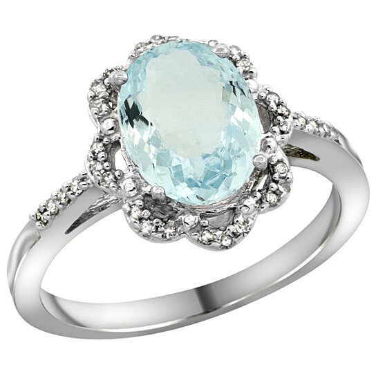 Trampoline Sale 55 8 11 12 13 14 15 17 X15 Oval: Buy 14K White Gold Diamond Halo Natural Aquamarine Ring
