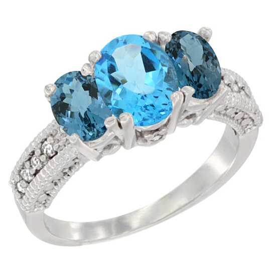 Swiss Blue Topaz Ring K White Gold