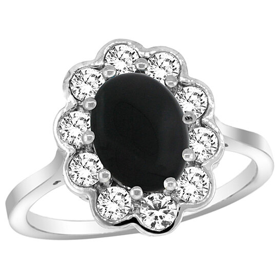 Trampoline Sale 55 8 11 12 13 14 15 17 X15 Oval: Buy 14k White Gold Halo Engagement Black Onyx Engagement