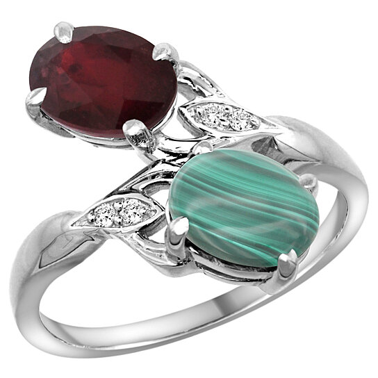 Trampoline Sale 55 8 11 12 13 14 15 17 X15 Oval: Buy 14k White Gold High Quality Ruby & Malachite 2-stone