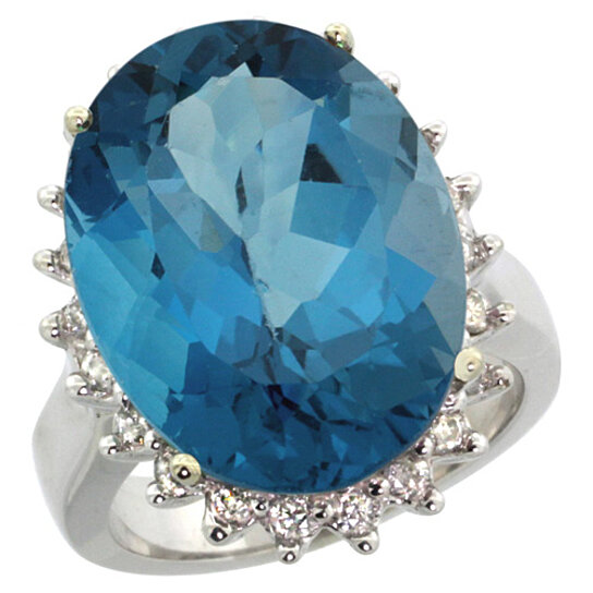 Trampoline Sale 55 8 11 12 13 14 15 17 X15 Oval: Buy 14K White Gold Natural London Blue Topaz Ring Large