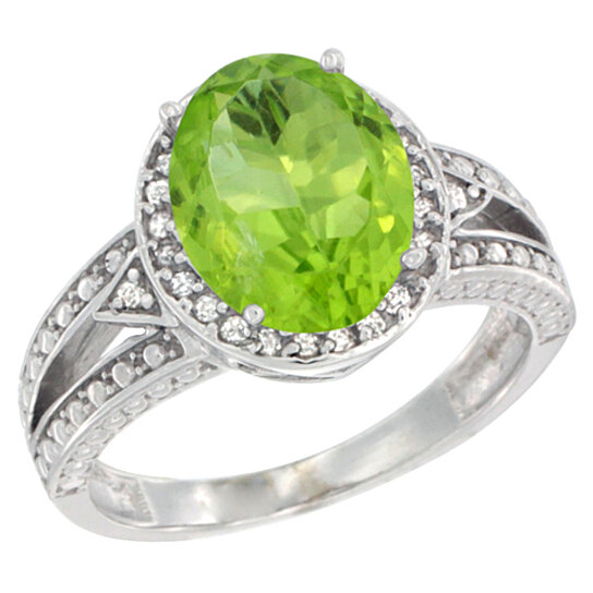 Trampoline Sale 55 8 11 12 13 14 15 17 X15 Oval: Buy 14K White Gold Natural Peridot Ring Oval 9x7 Mm